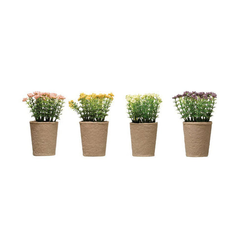 "Faux Blooming Plant in Paper Pot, 4 Colors 4"" Round x 6-1/2""H"