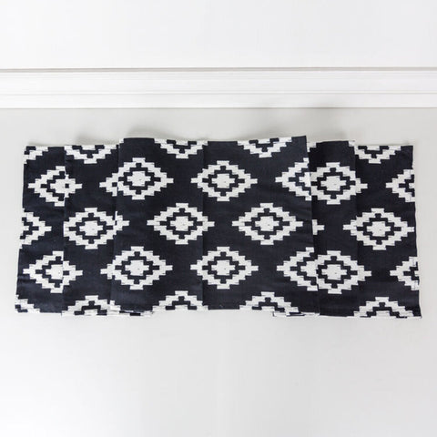 Aztec Black & White Canvas Table Runner
