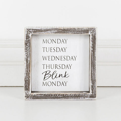 'Blink' - Framed Wood Sign