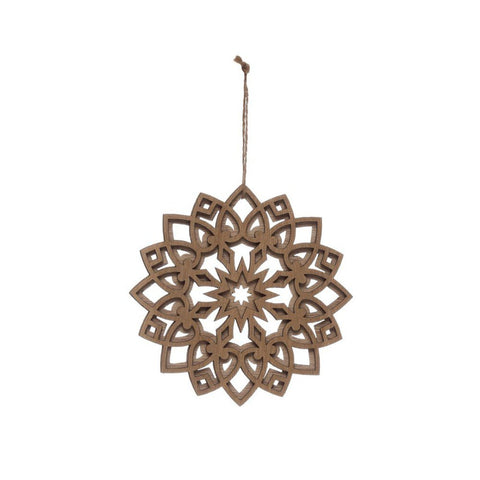 Wood Layered Snowflake Ornament 6""