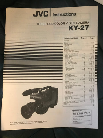 CC - JVC Three CCD Color Video Camera KY-27 with Case