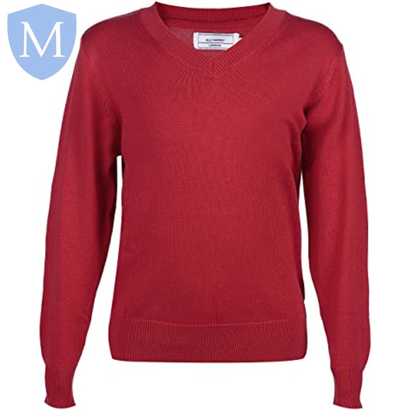 Cockshut Hill V-Neck Knitted Jumper (Red Cherry)