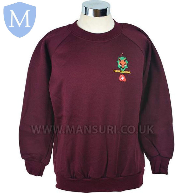 Fox Hollies Sweatshirts (Maroon) 7-8 Years,11-12 Years,13 Years,2XL,9-10 Years,Large,Medium,Small,X-Large