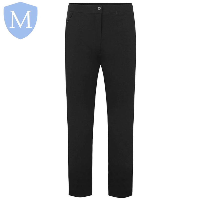 Plain Girls 1 Button Fasten Swan Trousers - Black