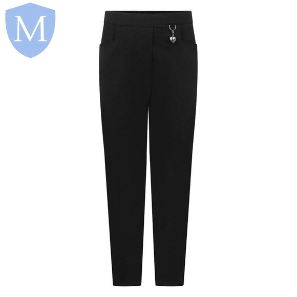 Plain Girls Heart Trousers Half Elasticated - Black Size 11-12,Size 13,Size 15-16,Size 2-3,Size 2XL,Size 3-4,Size 3XL,Size 4-5,Size 5-6,Size 6-7,Size 7-8,Size 8-9,Size 9-10,Size Large,Size Medium,Size Small,Size XL