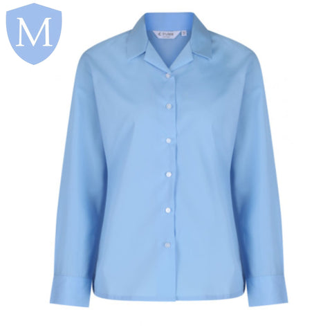 Plain Girls Open Neck Full Sleeved Blouse - Sky Blue