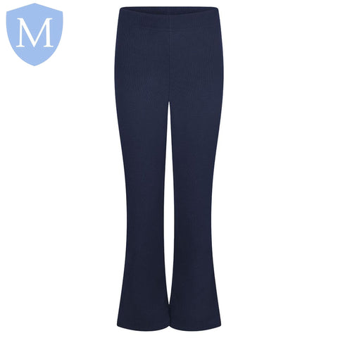 Plain Girls Ribbed Full Elasticated Trousers - Navy