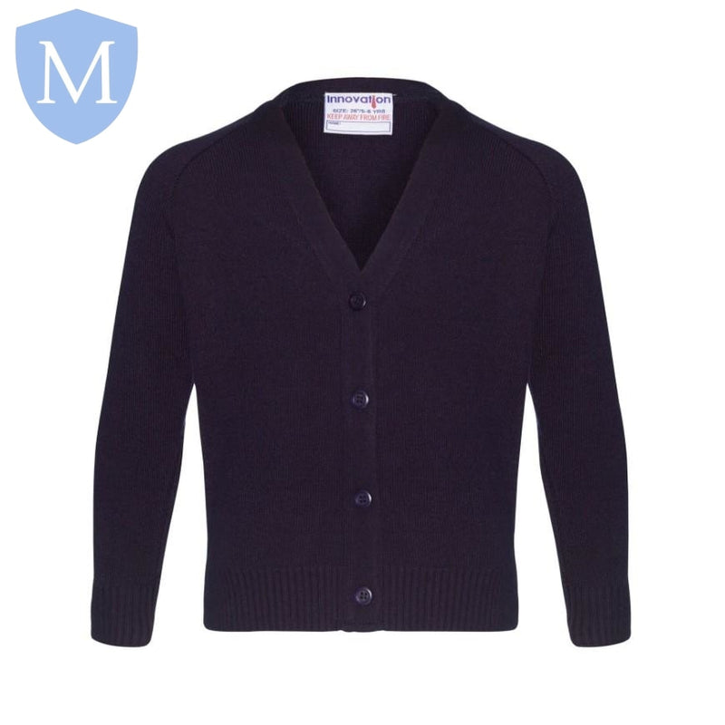 Plain Knitted Buttoned Cardigans - Navy