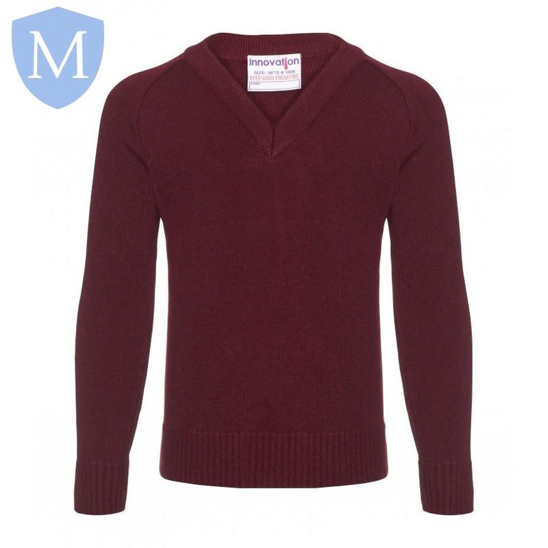 Plain Knitted V-Neck Jumpers - Burgandy