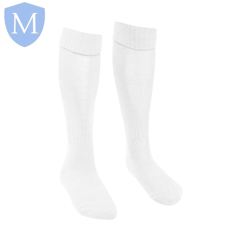 Plain Sports Football Socks - White Size 12.5-3.5,Size 1-5,Size 4-7,Size 6-11