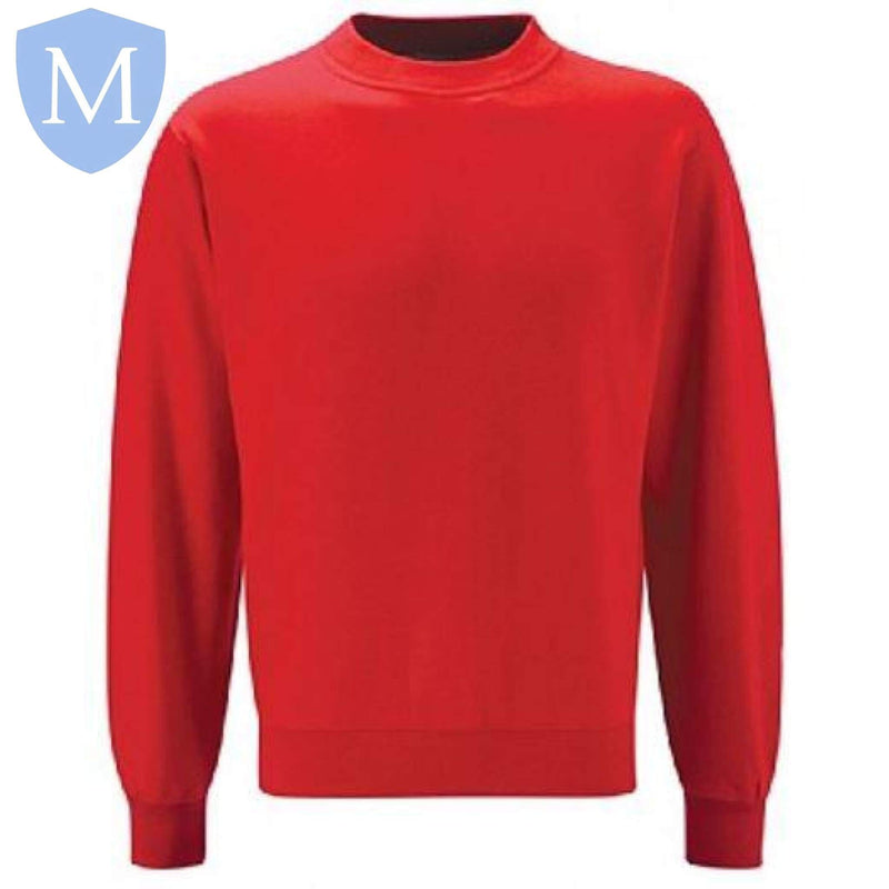 Plain Unisex Heavy-Duty Round-Neck Sweatshirt (Red)