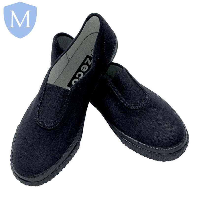 Sports Gusset Plimsolls - PE Pumps (Black)
