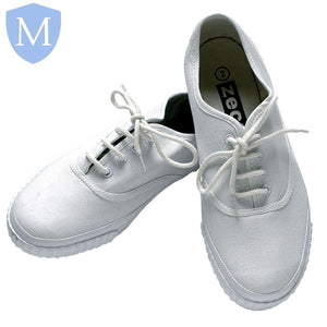 Sports Laced Plimsolls - PE Pumps (White)