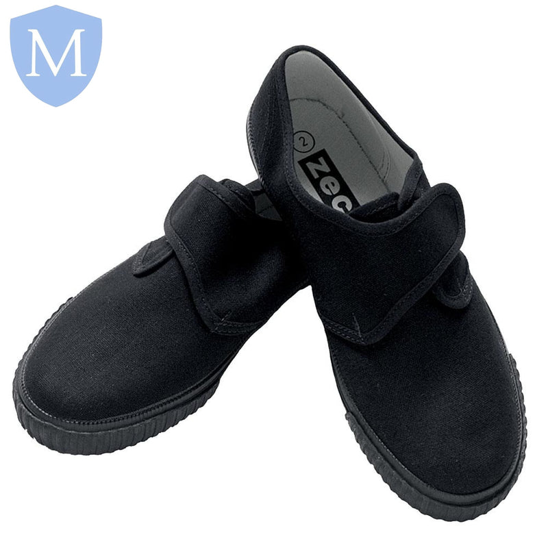 Sports Velcro Plimsolls - PE Pumps (Black)