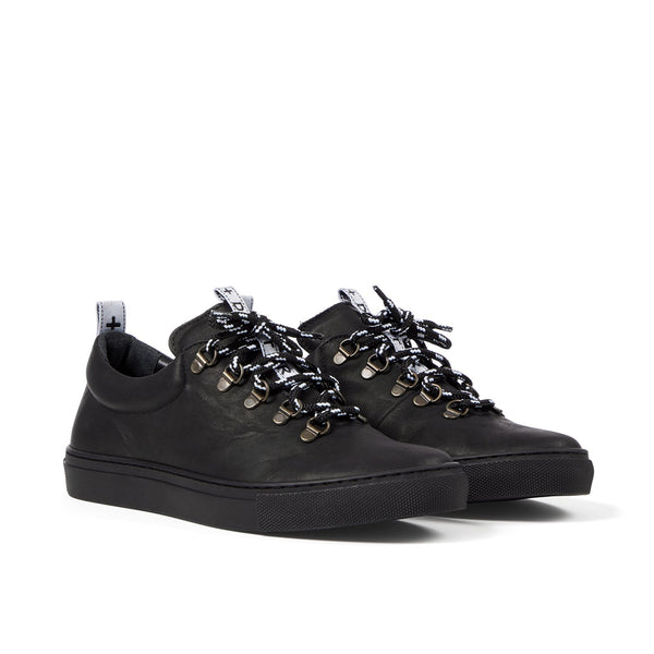 DRAKE Leather Black Hiker Low
