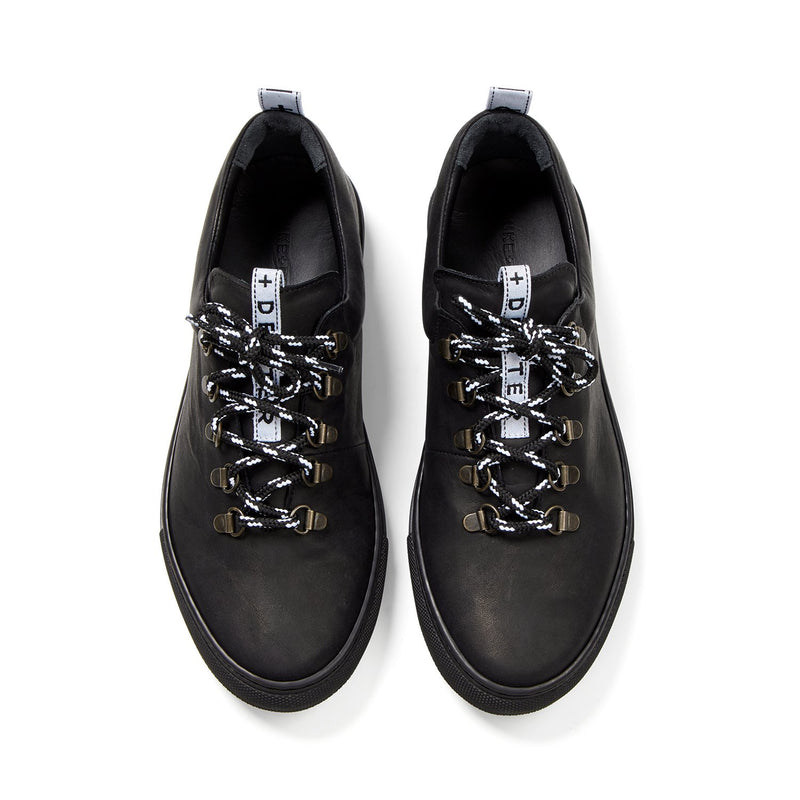 DRAKE Black Leather Hiker Low