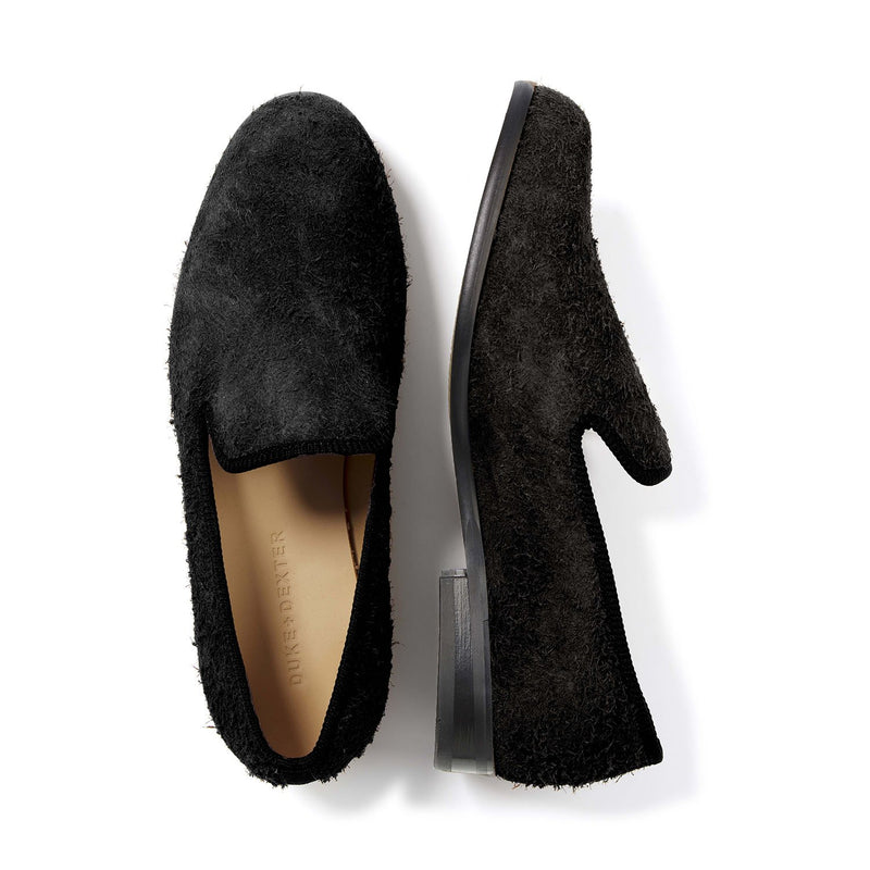 DUKE Black Shaggy Suede Loafer