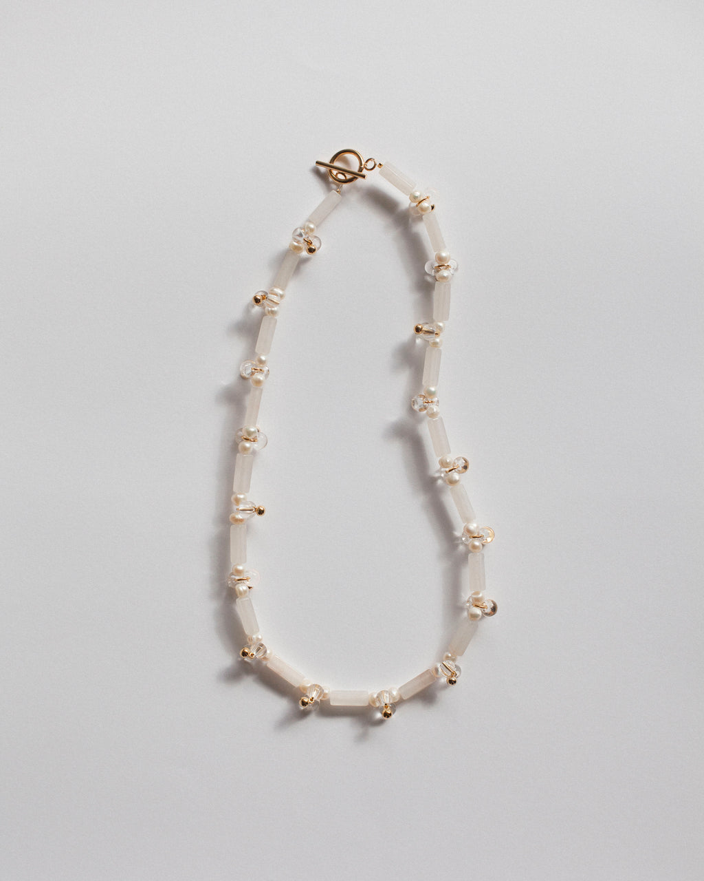 Block Necklace: White Jade