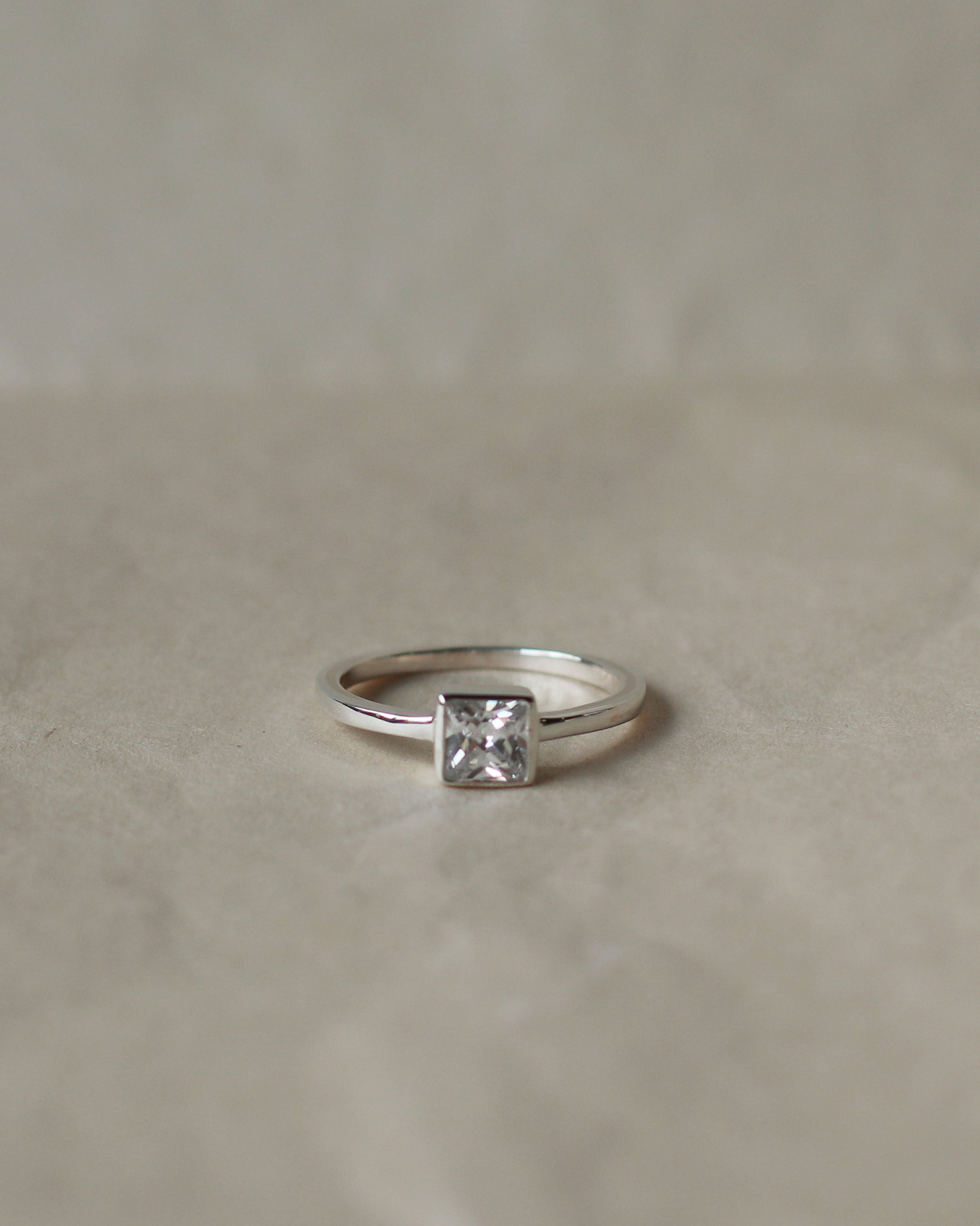 Cubic Zirconia Ring: Square