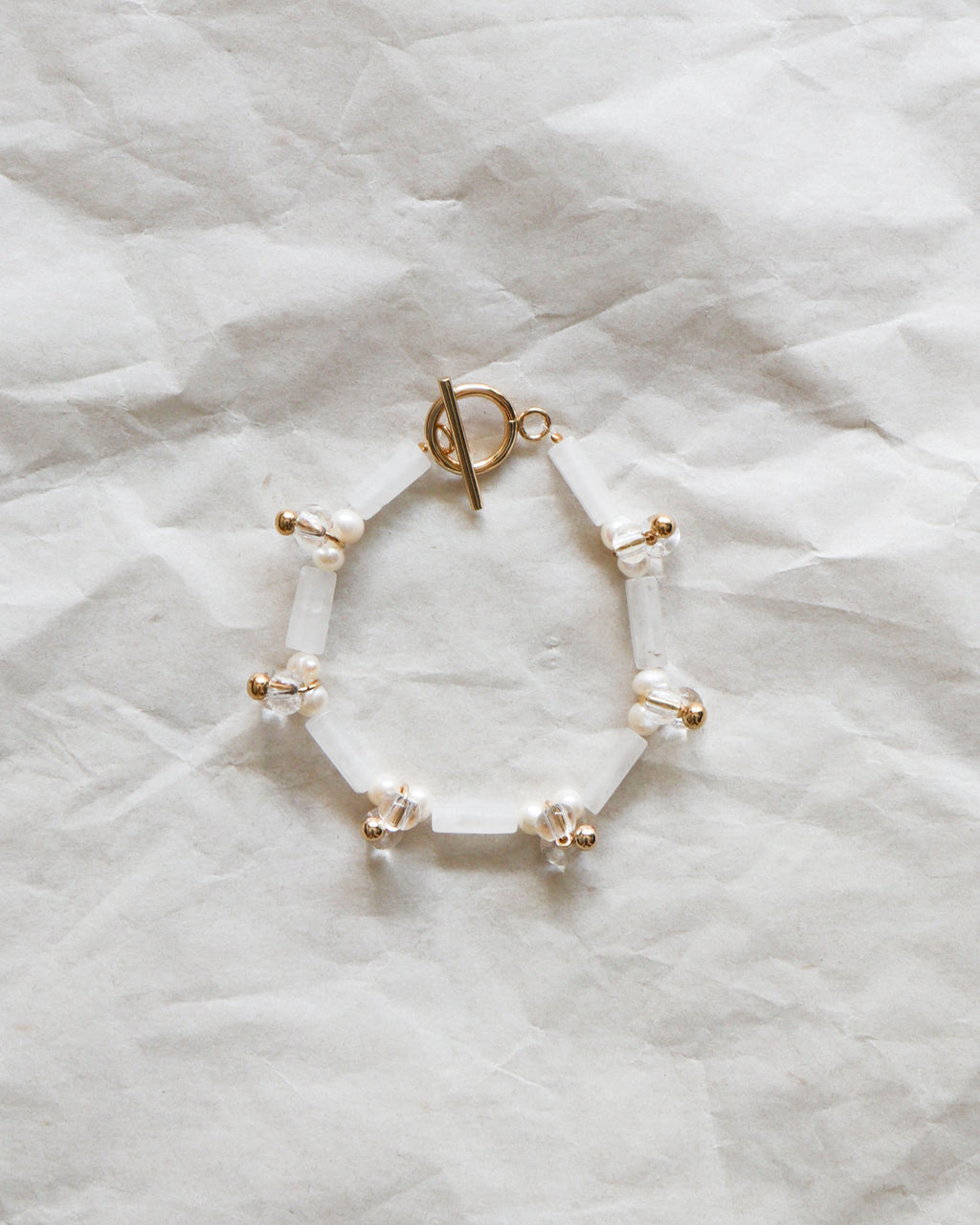 Droplets Bracelet: White Jade