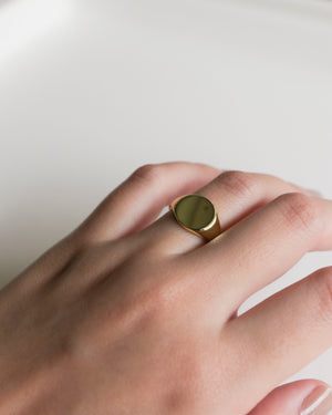 Gold Round Signet Ring [Ready Stock]