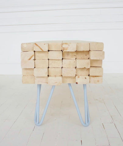 lumber stack coffee table on 3-rod hairpin legs