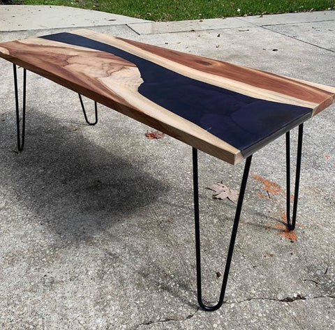 epoxy hairpin leg dining table