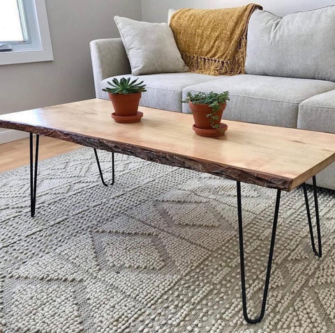 hairpin leg coffee table with raw edge table top