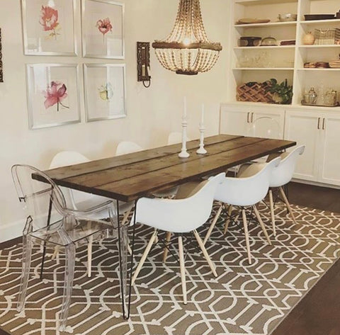 farmhouse hairpin leg dining table