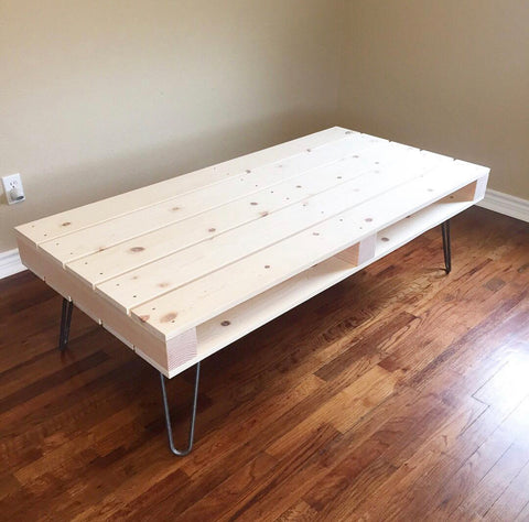 storage coffee table on hairpin legs