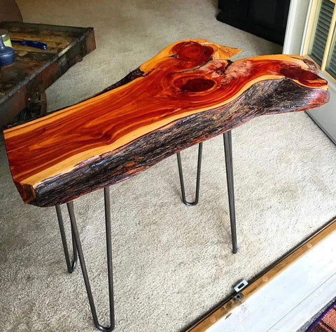 live edge with bark hairpin leg table
