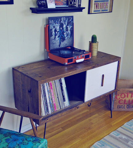 Large reclaimed wood record cabinet by Modern Arks