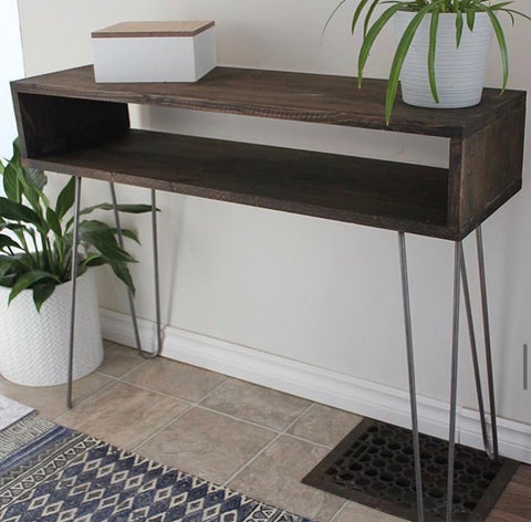 hairpin leg console with storage