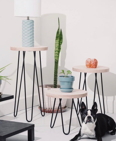 hairpin leg stools plant stand