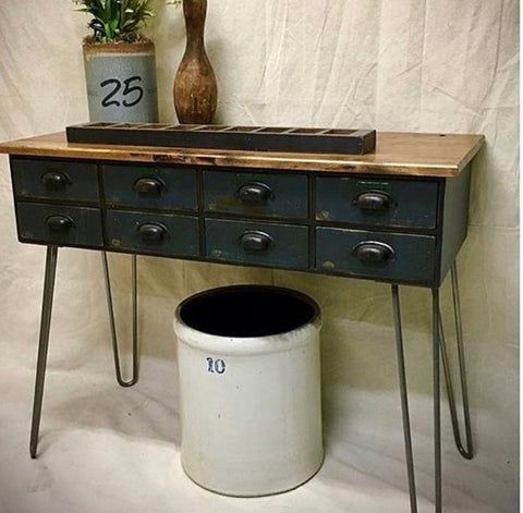 vintage console with drawers