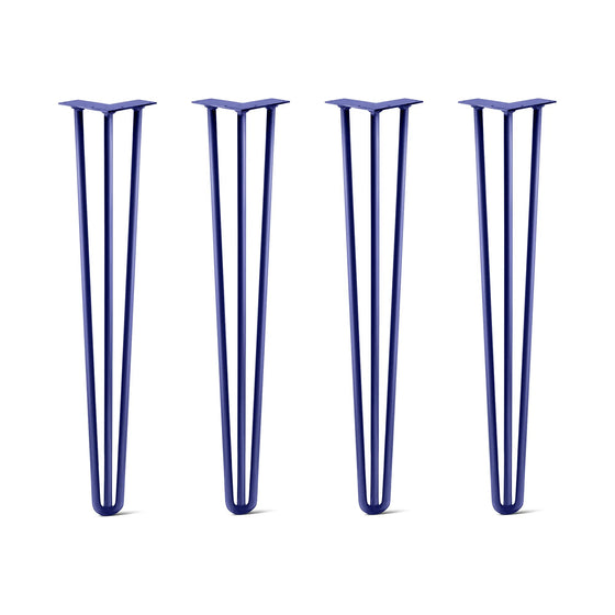 Hairpin Legs Set of 4, 3-Rod Design - Midnight Blue (Navy) Powder Coated Finish