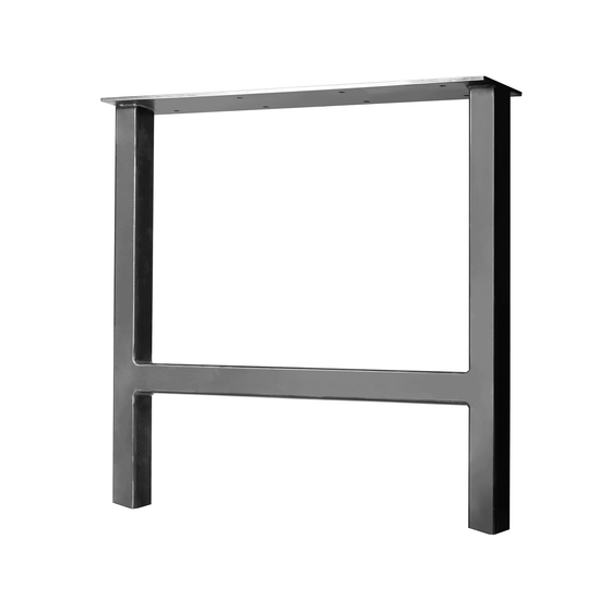 "H-Frame Tube Steel Table & Bench Leg - 2"" x 2"" Tube Steel - 10"" - 12"" Height - Jet Black Satin"