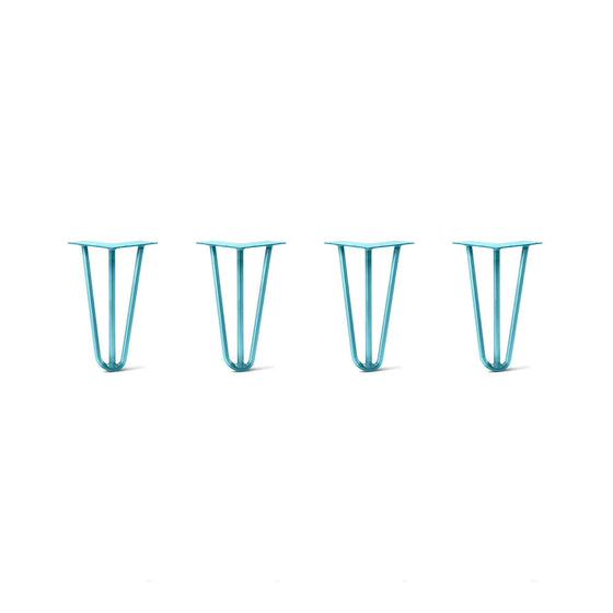 Hairpin Legs Set of 4, 3-Rod Design - Teal Powder Coated Finish