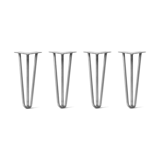 Hairpin Legs Set of 4, 3-Rod Design - Raw Steel