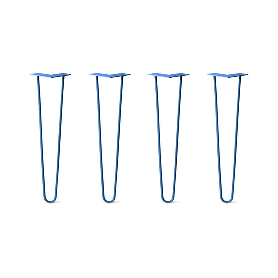 Hairpin Legs Set of 4, 2-Rod Design - Blue Powder Coated Finish