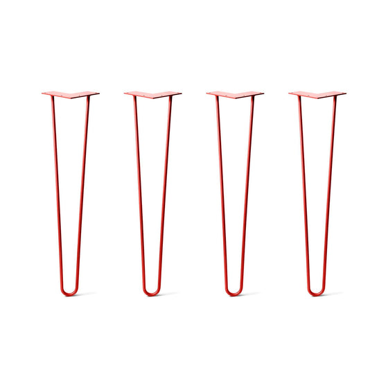 Hairpin Legs Set of 4, 2-Rod Design - Orange-Red Powder Coated Finish