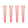 Hairpin Legs Set of 4, 3-Rod Design - Orange-Red Powder Coated Finish
