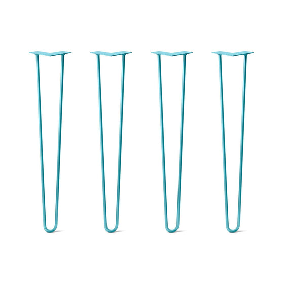 Hairpin Legs Set of 4, 2-Rod Design - Teal Powder Coated Finish