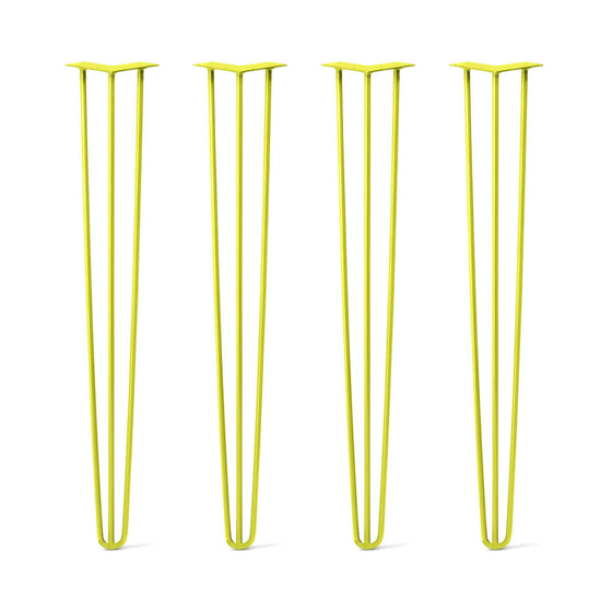 Hairpin Legs Set of 4, 3-Rod Design - Yellow Powder Coated Finish