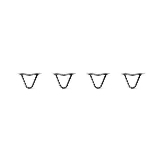 Hairpin Legs Set of 4, 2-Rod Design - Jet Black Satin Powder Coated Finish