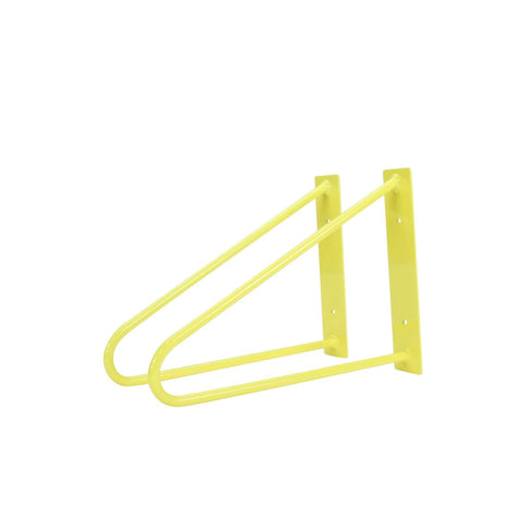 DIY Hairpin Legs Shelf Brackets Pair of Original Hairpin Shelf Brackets | Floating Desk Brackets - Yellow