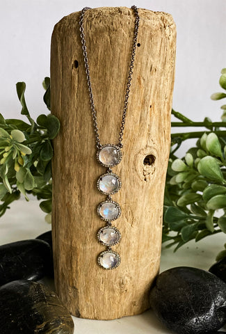Ela Rae Rainbow Moonstone & Diamonds Necklace