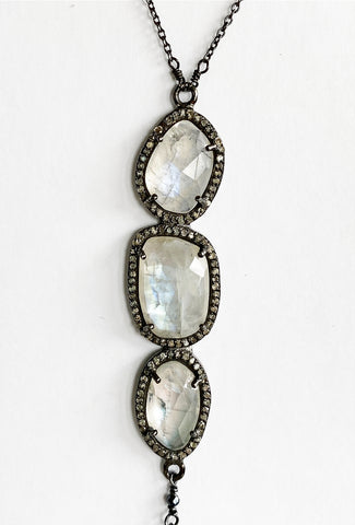 Ela Rae Diamonds & Moonstone Trio Neck