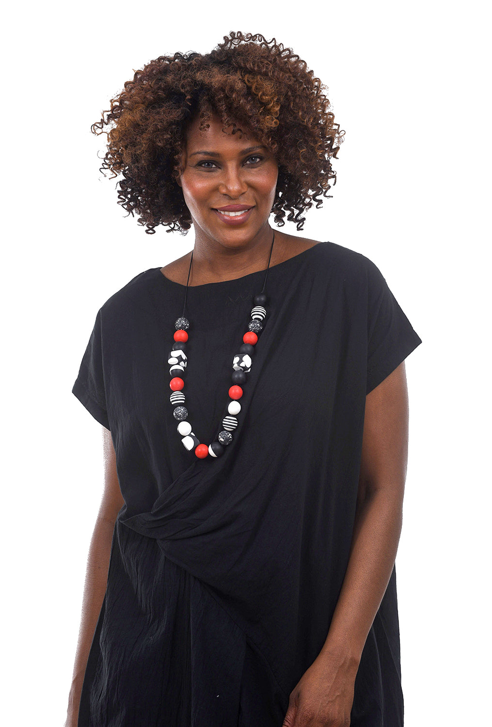 Sylca Designs Adina Necklace, Black/Red