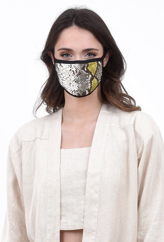 Coin1804 Cotton-Jersey Face Mask, Olive/Python